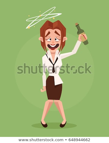 Drunk Woman with Glass of Wine Flat Vector  Stock photo © robuart