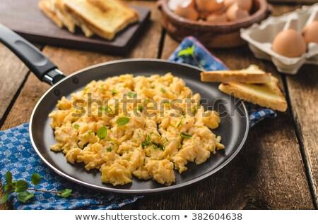 Rántotta főtt szalonna tányér serpenyő sült Stock fotó © Digifoodstock