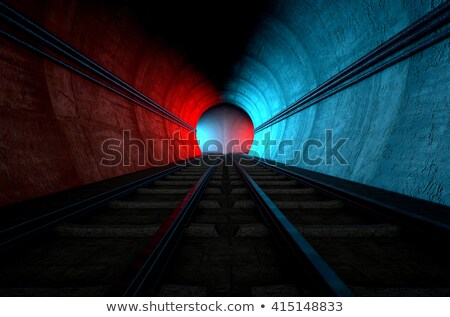 Trem túnel tijolo subterrâneo dois Foto stock © albund