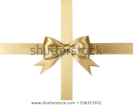 Shiny gold satin ribbon on white background Stock photo © fresh_5265954