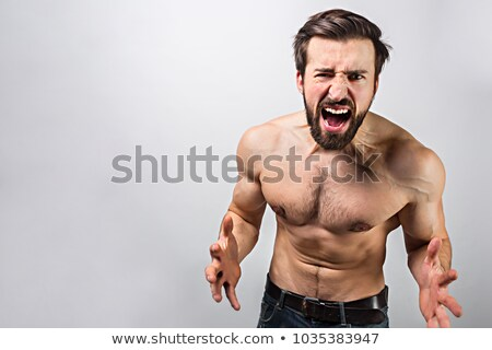 young handsome brunette guy posing emotional on white background lifestyle people concept stock photo © iordani