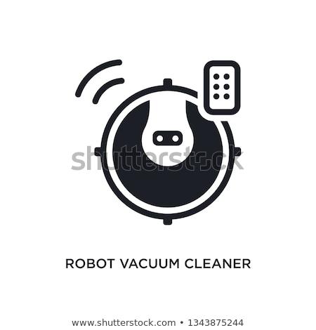 Robot odkurzacz biały wektora ilustracja pracy Zdjęcia stock © m_pavlov
