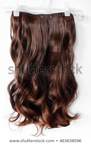 Kobieta piękna długo brązowe włosy odizolowany stwarzające Zdjęcia stock © julenochek