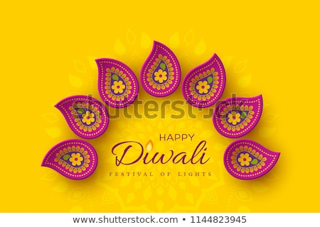 diwali festival greeting with diya and paisley decoration design Stock photo © SArts