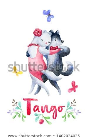 Cão dança tango engraçado ilustração rosa Foto stock © izakowski
