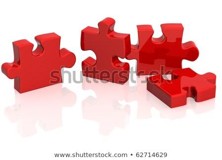 3D パズル 赤 白 成功 接続 ストックフォト © dariusl