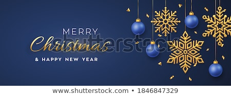 elegant hanging christmas balls on glitter sparkle background Stock photo © SArts