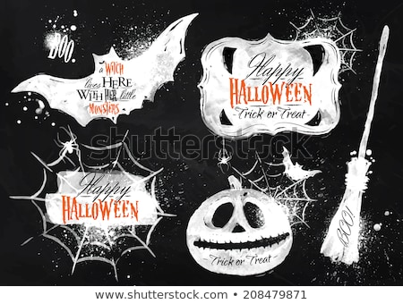 Tableau noir halloween araignée citrouille école dessin Photo stock © romvo