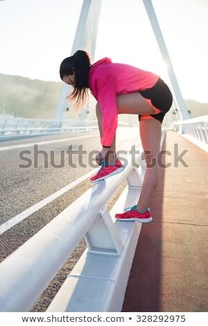 Teljes alakos portré fiatal kimerült fitnessz nő pihen Stock fotó © deandrobot