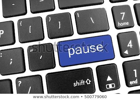 primer · plano · teclado · escrito · grande · azul - foto stock © tashatuvango