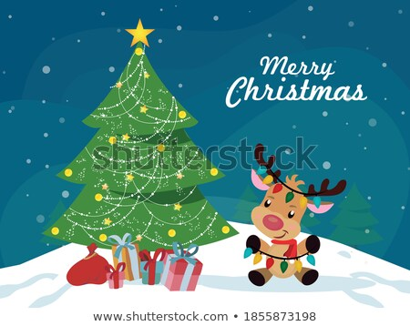 Santa Hat Reindeer Christmas Scene Sign Background Stock photo © Krisdog