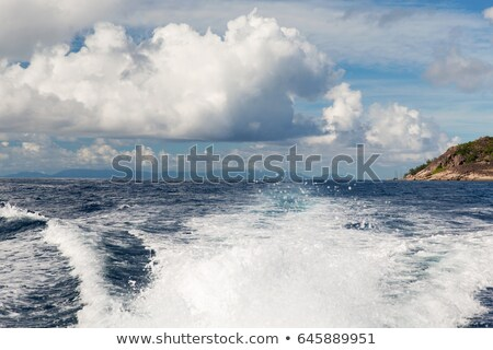 indian ocean and leaving boat trace on water Stock photo © dolgachov