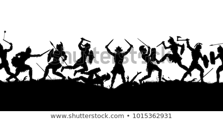 Harcos csata kivágás szerkeszthető vektor sziluettek Stock fotó © Tawng