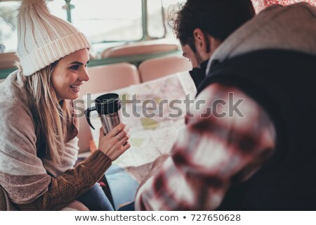 couple in camper van looking at map stock photo © is2