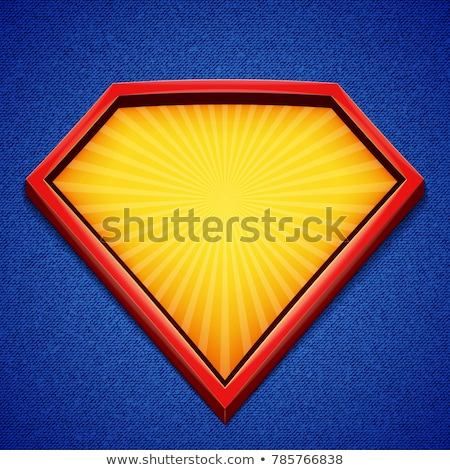 Superhero Logo Vector. Diamond Shield Symbol Shape. Badge Super Powers. Flat Cartoon Comic Illustrat Stock photo © pikepicture