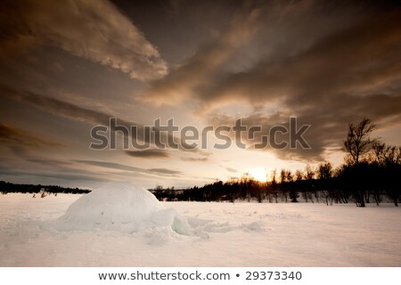 Ice structure against dramatic sunset Stock photo © vapi