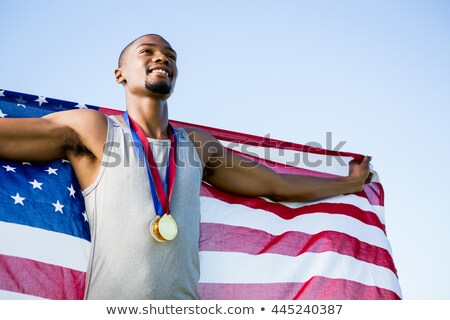 Stock fotó: Atléta · aranyérem · körül · nyak · pózol · napos · idő