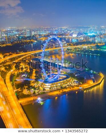 Szingapúr kerék felhőkarcolók kilátás szórólap modern Stock fotó © joyr