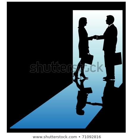 Foto stock: Oriente · médio · empresário · mulher · aperto · de · mãos · fora · escritório