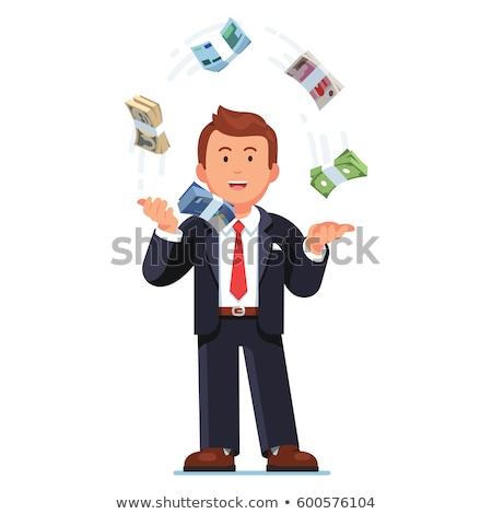Európai üzletember dob pénz levegő irodai asztal Stock fotó © studioworkstock