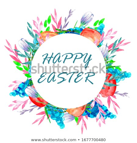 Happy easter text greeting card. Nest wreath flowers frame and colored eggs Stock photo © orensila