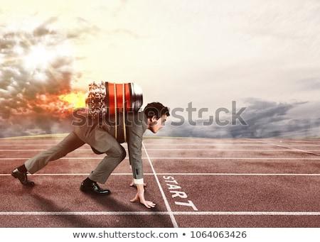 бизнесмен · помочь · конкурент · несправедливый · конкуренция · достичь - Сток-фото © alphaspirit
