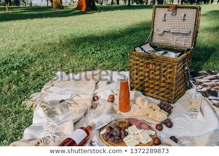 lunch time, baguette, salami and fruits Stock photo © M-studio