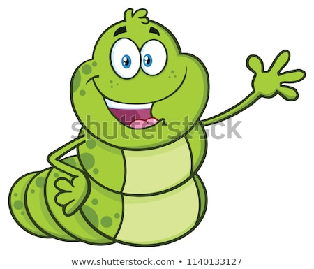 Happy Book Worm Cartoon Mascot Character Waving For Greeting Stock photo © hittoon