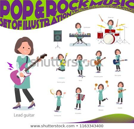 Blue-green tunic Middle women_pop music Stock photo © toyotoyo
