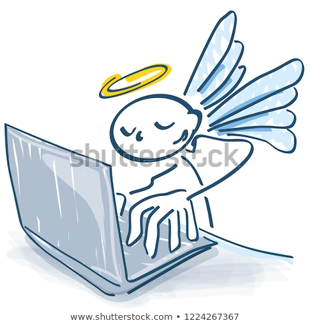 Stick figure as angel ordering on a laptop Stock photo © Ustofre9