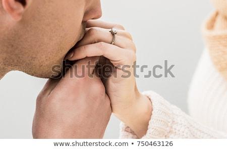 Człowiek całując strony Świeca świetle data Zdjęcia stock © Kzenon