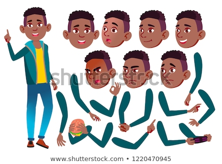 teen boy vector teenager emotional pose face emotions various gestures animation creation set stock photo © pikepicture
