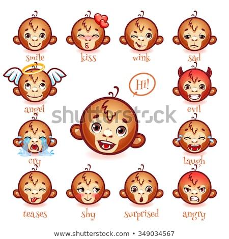 Rajz mosolyog angyal csimpánz boldog szárnyak Stock fotó © cthoman