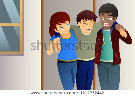 Gyerekek segít sebesült barát illusztráció lány Stock fotó © artisticco