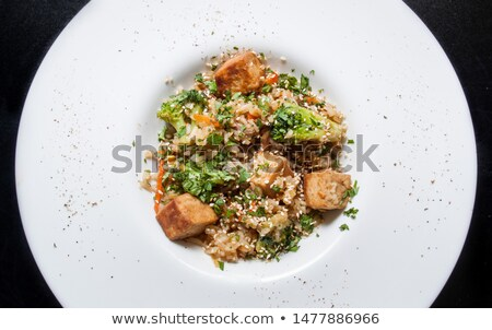 tofu and broccoli stir fry with white rice stock photo © alex9500