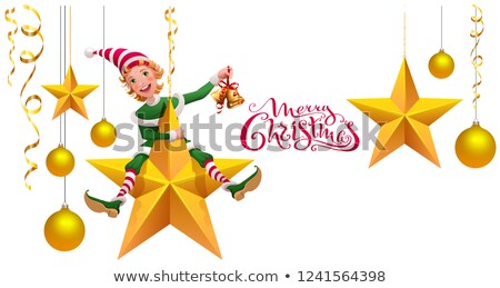 Merry Christmas text greeting card. Green elf leprechaun on star holding Christmas bell Stock photo © orensila