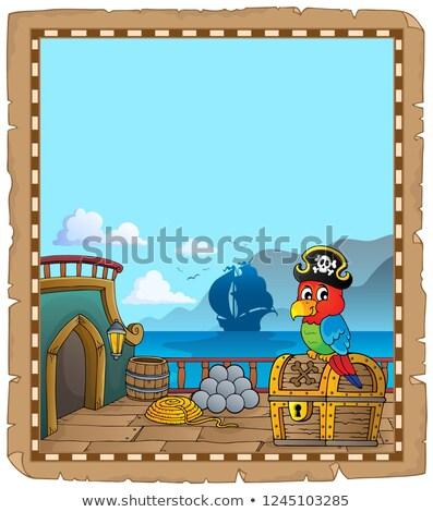 Pirata navio convés tópico pergaminho papel Foto stock © clairev