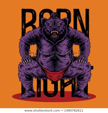 Cartoon boos worstelaar beer naar Stockfoto © cthoman