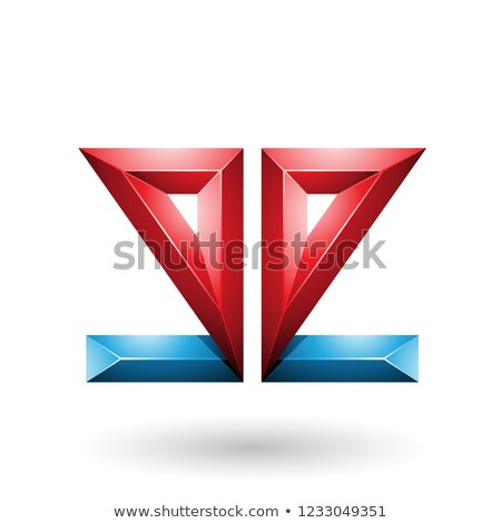 Blue and Red 3d Geometrical Double Sided Embossed Letter E Vecto Stock photo © cidepix