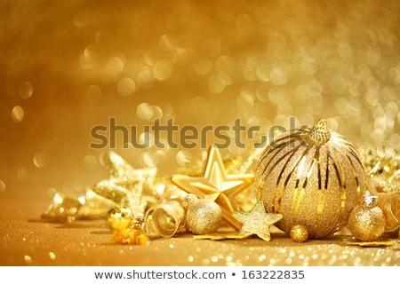 Karácsony arany csecsebecse dísz üdvözlőlap vidám Stock fotó © cienpies