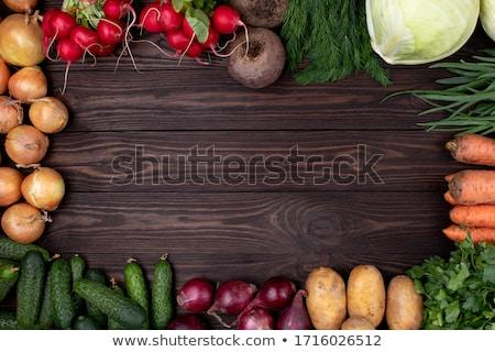 Friss zöldségek fa kert étel elrendezés zöldségek Stock fotó © mythja