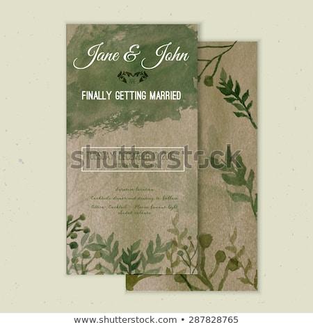 エレガントな 素朴な 紙 結婚式招待状 テンプレート 手描き ストックフォト © ivaleksa