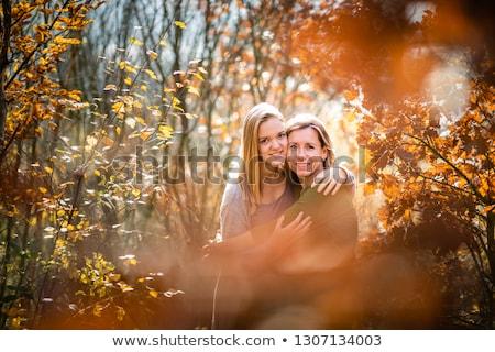 Anne kız sonbahar orman bahar gülümseme Stok fotoğraf © lightpoet