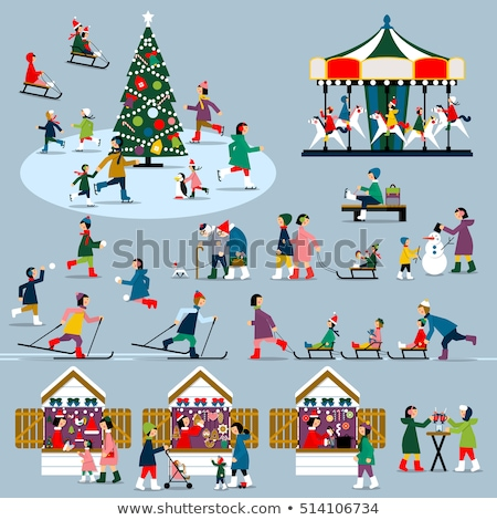 Skater Woman and Family Set Vector Illustration Stock photo © robuart