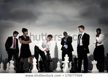 üzletasszony készít mozgás játék sakk stratégiai Stock fotó © Kzenon
