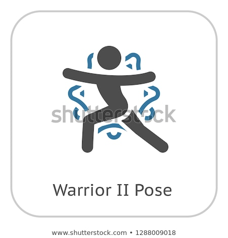 ヨガ 戦士 ポーズ アイコン デザイン 孤立した ストックフォト © WaD