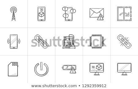 mobile phone and text message with exclamation point hand drawn outline doodle icon stock photo © rastudio
