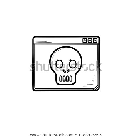 Computer window with scull hand drawn outline doodle icon. Stock photo © RAStudio