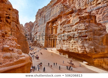 Schatkist Jordanië kunst zand Rood architectuur Stockfoto © hitdelight