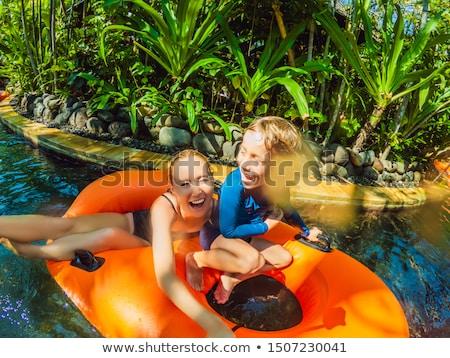 mutlu · genç · aile · eğlence · yüzme · havuzu · yaz · tatili - stok fotoğraf © galitskaya